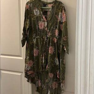 Floral High-Low Button Front Babydoll Shirt